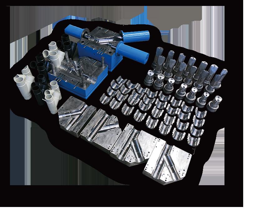 Interchangeable PE fitting molds